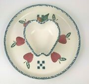 Vtg Apple Chip Dip Plate Chapperal Pottery 11 1/2 Platter Farmhouse Country Euc