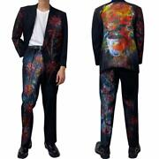 Mens Suits Set Of 2 Remake Rare Printed Jacket Pants Used Free Shipping From Jpn