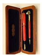 Parker Duofold Set Special Edition Orange Fountain Pen Fine Pt And Pencil In Box