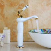 Tall Single Handle/hole Mixer White Deck Mount Bathroom Vanity Sink Faucet Taps