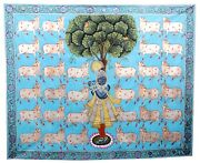 Handmade Indian Pichwai Painting Lord Krishna Cotton Cows Wall Hanging Artwork