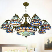 Stained Glass Chandelier Lighting Retro Style Big Pendant Light Fixture