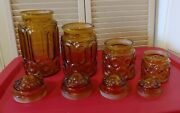 Amber Moon And Star 4pc Canister Set With Frosted Lids. Vintage Le Smith Glass