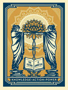 Shepard Fairey - Knowledge + Action = Power Blue And Gold 2018 18x24 Signed Le 350