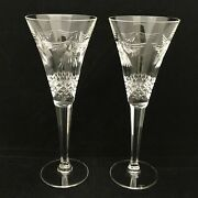 2 Waterford Crystal Millennium Collection Peace Champagne Flutes 9 1/2 V Shaped