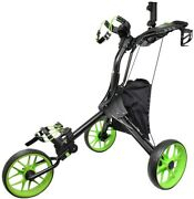 Hoveroid N8 Lime Foldable Golf Push And Pull Cart Aluminum Structure Light Weight