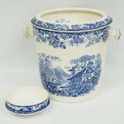 Vintage Mintons Genevese Slop Bucket Pail Chamber Pot Blue And White Transferware