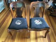 Antique Wooden Craftique Fiddle-back Chairs With Needle Point Cushion X2