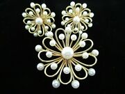 The Biggest And Best Vintage 14kt Gold And Akoya Pearl Pin And Earrings Set Signed