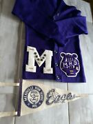 1968 Vintage Meadville Mo Eagles Highschool Letter Sweater Pennant Music Pins