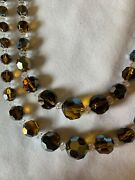 Vintage Czech Citrine Crystal Faceted Glass Bead Necklace Deco