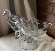 Rare Antique Deco Cambridge Art Glass Crystal Clear Flying Nude Compote Bowl