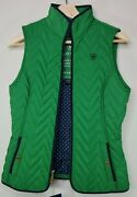 Ariat Womenand039s Ashley Vest Green Puffer Blue Accents Gold Buttons Fall Xs