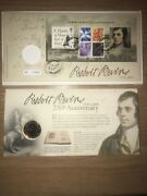 Gb Stamps First Day Cover 2009 Robert Burns With £2 Mint Coin Rare