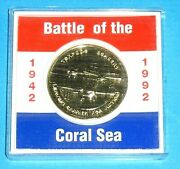 Australia Battle Of The Coral Sea 1992 Commemorative Medal 24 Ct Gold Plated