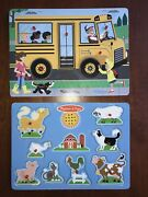 Melissa And Doug Sound Puzzle Lot Of 2 Farm Animals And Wheels On The Bus