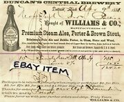 1881 Duncan's Central Brewery Detroit Michigan Beer Ale Porter Pre Pro Williams