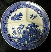 Antique 1890s Petrus Regout Maastricht Blue White Willow Divided Plate 11 1/4