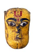 Handcrafted Antique Wooden Mask Hand Carved Tribal Painted Hanging Wall Art Deco