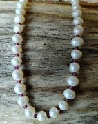 Natural Freshwater Pearl Garnet Necklace Gemstone Ball Beads Hand Made Jewelry