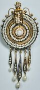 Victorian 14k Yellow Gold And Seed Pearls Dreamcatcher Style Pin