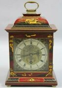 Georgian Style Chinoiserie Red Jappaned Bracket Clock Made In England