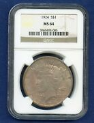 1924 P Ngc Ms64 Peace Silver Dollar 1 Us Mint Coin 1924-p Ms-64 Pq Color Coin