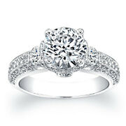 Natural Diamond 1.50 Ct Engagement Rings 14k Solid White Gold Size 6 7 8