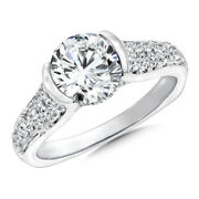 14k White Gold Natural Diamond Beautiful Round Cut 1.15 Ct Wedding Ring Size 4 5