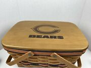 """Longaberger Picnic Style Basket Chicago Bears Vg Condition 13"""" By 8"""" By 8"""""""