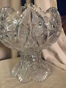 American Brilliant Cut Glass Punch Bowl And Pedestal Abp Rajah By Pitkin And Brooks