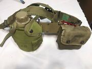 Vintage Military Tactical Belt And Suspenders With Canteen And First Aid Box