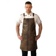 Brown Vegan Leather Kitchen Apron With Pocket And Towel Holder Cooking Work Wear