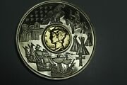 1936 Mercury Dime Gold-plated Inlay Currencies Collections Coa 2001 Proof