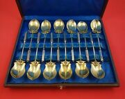 Isis By Gorham Sterling Silver Ice Cream Set Gold Washed 12pc Fitted Box 5 1/4