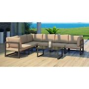 Modway Fortuna 7 Piece Outdoor Sofa Set In Brown And Mocha