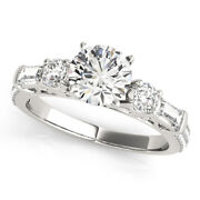 Solid 14 K White Gold 1.67 Ct Real Diamond Engagement Women Ring Size 6 7 8