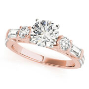 Round 1.67 Ct Real Diamond Solid 14k Rose Gold Engagement Women Ring Size 5 6