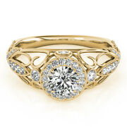 Round Cut 1.00 Ct Real Diamond Solid 14k Yellow Gold Engagement Ring Size 5 6