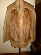 Reduced - Leather Mink Jacket Zips Up The Front