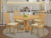 5pc Set Oval Dinette Kitchen Pedestal Dining Table + 4 Padded Chairs Light Oak