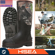 Hisea Menand039s Rain And Snow Boots Neoprene Rubber Insulated Muck Chore Working Boots