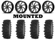 Kit 4 Frontline Acp Tires 35x9.5-20 On Msa M36 Switch Black Wheels Can