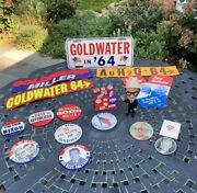 Barry Goldwater, Nixon, Eisenhower Campaign Memorabilia, Pins Buttons, Stickers