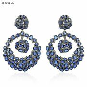14k Gold Pave Diamond Christmas Natural Blue Sapphire Earring Fine Jewelry Jp