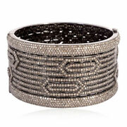 Pave Diamond Women Silver Bangle 925 Sterling Silver Fine Gift Her Jewelry Jp