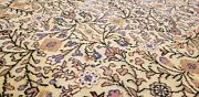 Exquisite 1940-1950s Vintage Wool Pile Muted Natural Colors Rug 6and0395andtimes9and0395