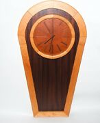 Vintage Mcm Large 37 Inch Three Tone Wood Wall Clock. Made In Usa