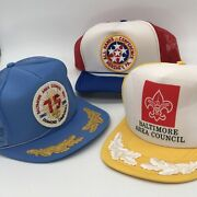 Lot Of 3 Vintage Boy Scout Council And Conference Mesh Snapback Hats