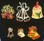 Vintage Christmas Jewelry Lot Of 6 Bell Pins Brooch Enamel Red Holiday